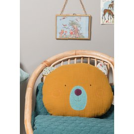 Coussin tête ours ocre