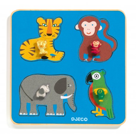 Djeco Puzzles Gros Boutons - Family Jungle
